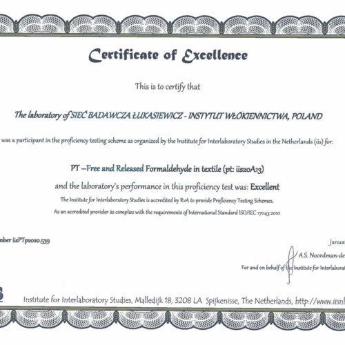 Certyfikat jakości dla Laboratorium Badań Chemicznych i Analiz Instrumentalnych